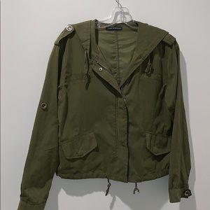 Brandy Melville Drawstring Camo Green Jacket